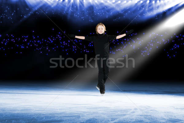 Boy ice skater goes on her arms Stock photo © adam121