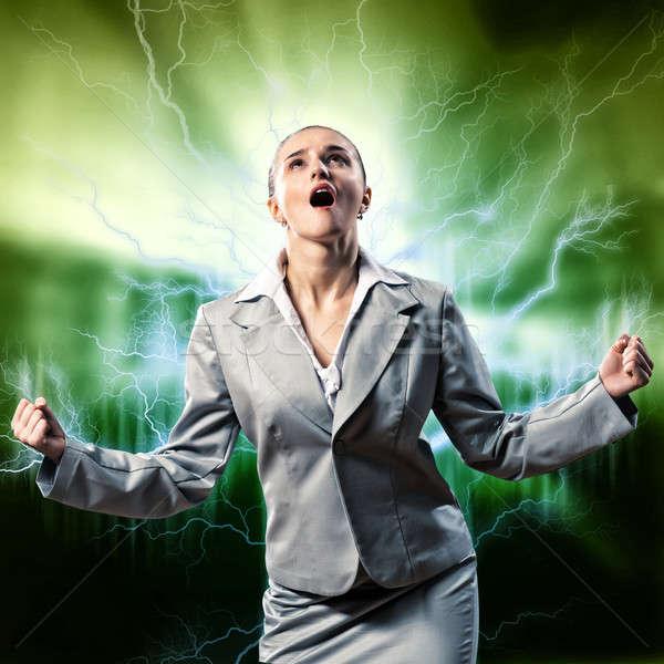 Violento mulher furioso brasão pessoa Foto stock © adam121