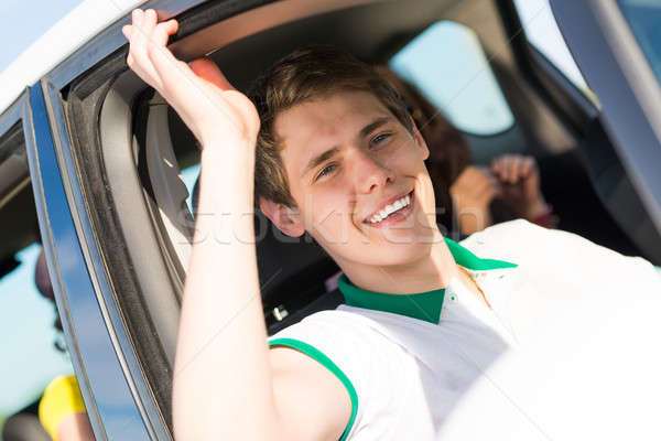 Stock photo: man stuck his hand out of the window