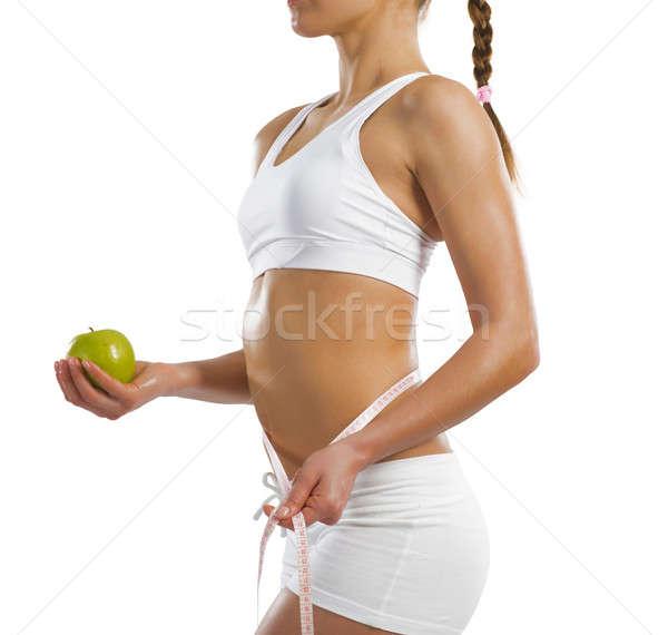小さな アスレチック 女性 緑 リンゴ ストックフォト © adam121