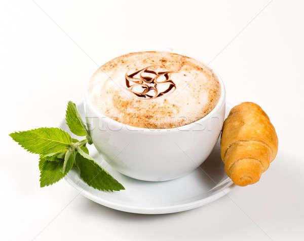 Nagy csésze kávé croissantok minta korai Stock fotó © adam121
