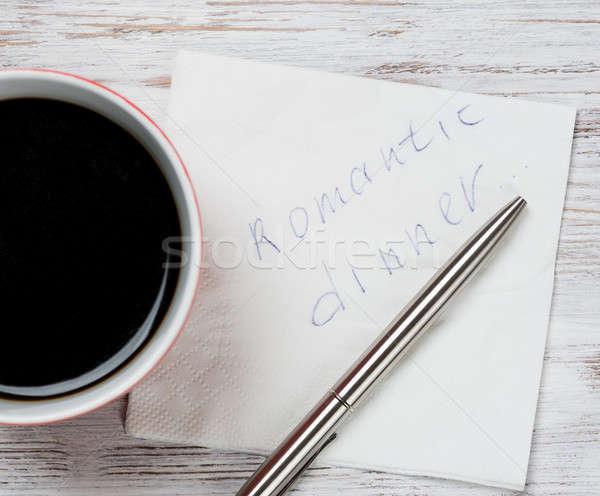 сообщение написанный салфетку Кубок кофе пер Сток-фото © adam121