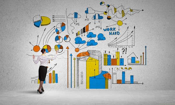 Creative affaires plan femme d'affaires permanent Photo stock © adam121
