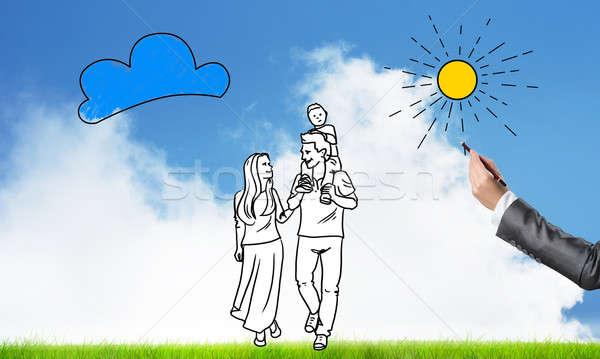 Feliz juntos família feliz casual roupa Foto stock © adam121