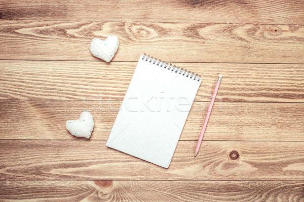Amore messaggio invito cuori notepad foglio Foto d'archivio © adam121