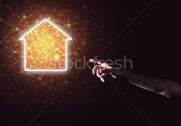 изображение стороны указывая дома основной страница Сток-фото © adam121