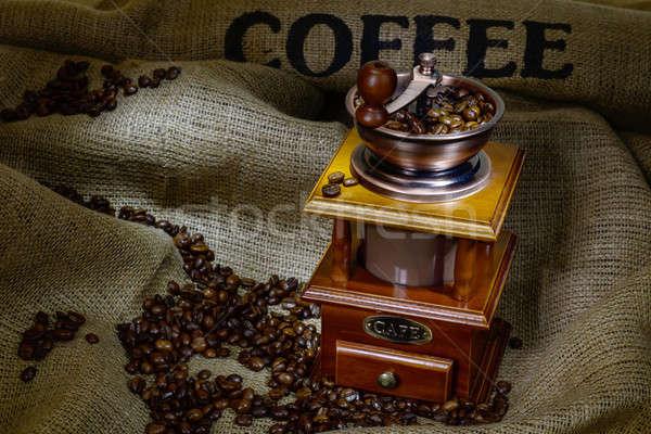 Kahve değirmen fasulye çuval bezi natürmort dizayn Stok fotoğraf © adam121