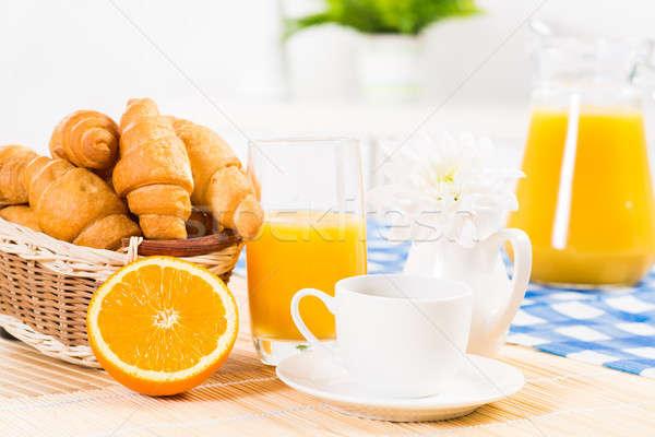 コンチネンタルブレックファースト コーヒー オレンジ クロワッサン ジュース フルーツ ストックフォト © adam121