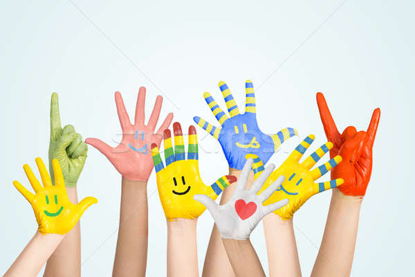 Stock photo: painted children's hands