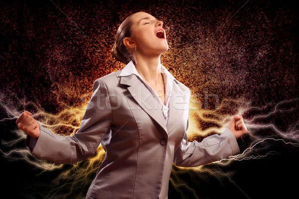 Erőszakos nő dühös karok felfelé néz személy Stock fotó © adam121