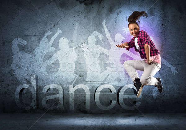 Tancerz obraz młoda kobieta taniec kolaż Zdjęcia stock © adam121