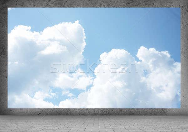 Açık gökyüzü görüntü afiş beyaz bulutlar mavi gökyüzü Stok fotoğraf © adam121