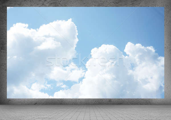 Heldere hemel afbeelding banner witte wolken blauwe hemel Stockfoto © adam121