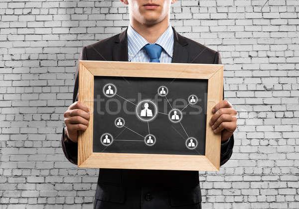 ストックフォト: ネットワーク · 小さな · ビジネスマン · 黒板 · ビジネス