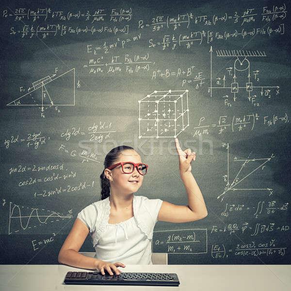 Küçük okul dahi kız yaş kırmızı Stok fotoğraf © adam121