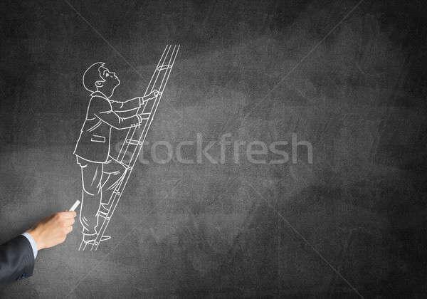 Karikatúra üzletember férfi kéz rajz kréta Stock fotó © adam121