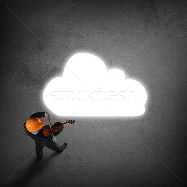 Człowiek gry sukces melodia górę widoku Zdjęcia stock © adam121