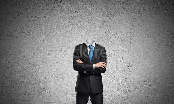 Empresario cabeza los brazos cruzados pecho traje negro salud Foto stock © adam121