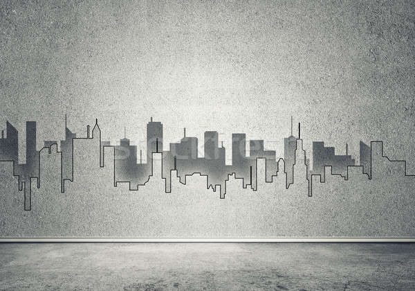 Stad ontwerp muur silhouet moderne landschap Stockfoto © adam121