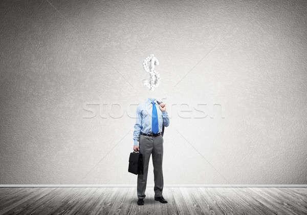 Sempre pensando dinheiro empresário cifrão homem Foto stock © adam121