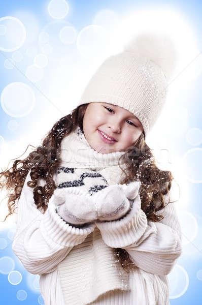 Kış kız soyut beyaz mavi keyifli Stok fotoğraf © adam121