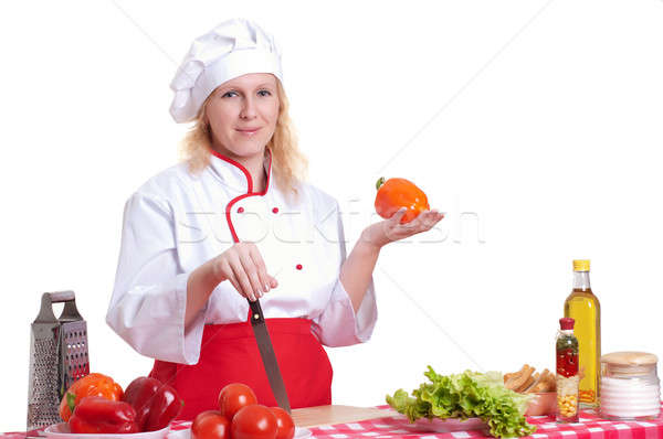 attractive woman cooks Stock photo © adam121