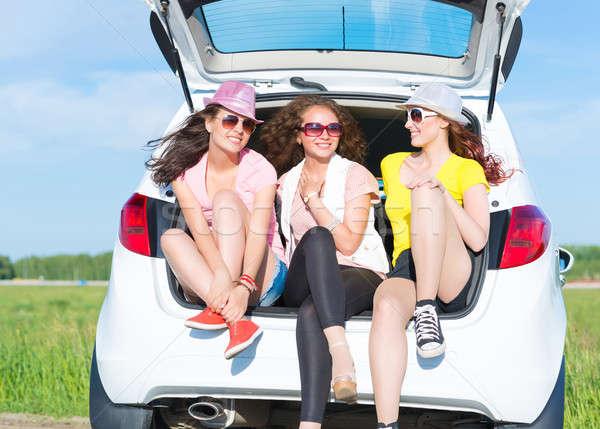 小さな 魅力のある女性 座って オープン 新しい車 夏 ストックフォト © adam121