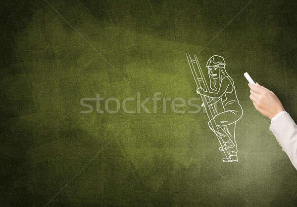 Caricatura builder donna femminile mano disegno Foto d'archivio © adam121