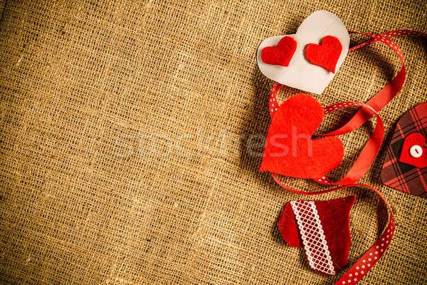 Do it yourself carte postale amour coeurs brun Photo stock © adam121