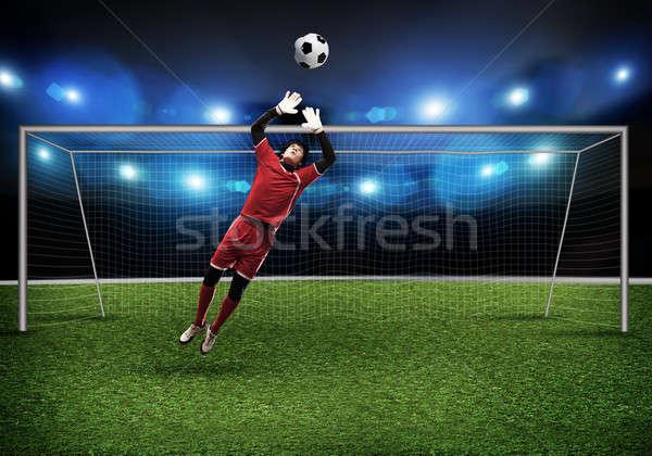 Mejor portero saltar hierba hombre equipo Foto stock © adam121