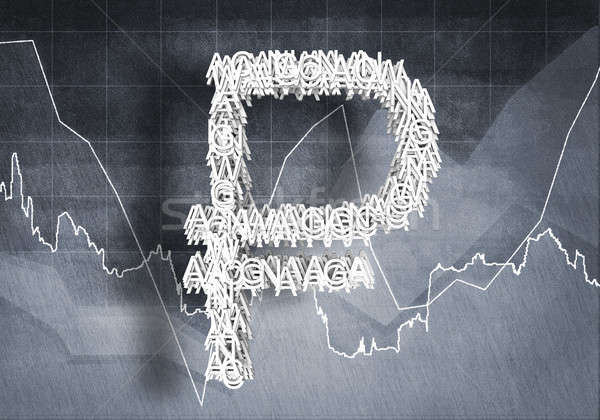 Valuta gyakoriság nagy szimbólum grafikonok diagramok Stock fotó © adam121