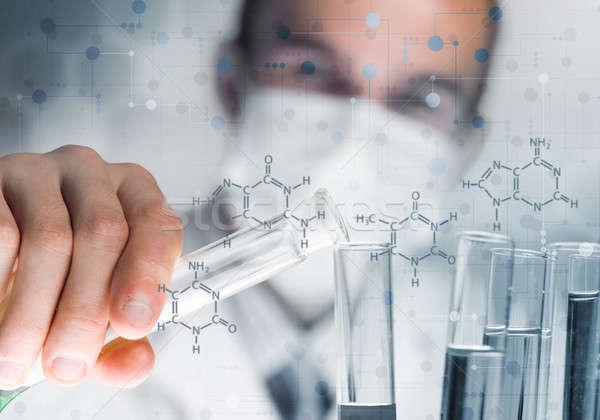 Retrato concentrado masculina científico de trabajo laboratorio Foto stock © adam121