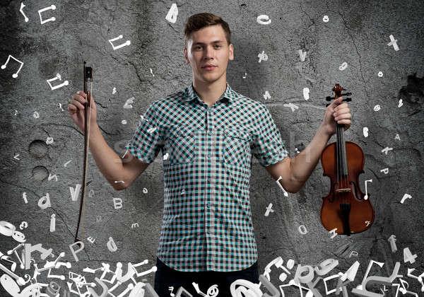 Grać młodych przystojny facet cementu skrzypce Zdjęcia stock © adam121
