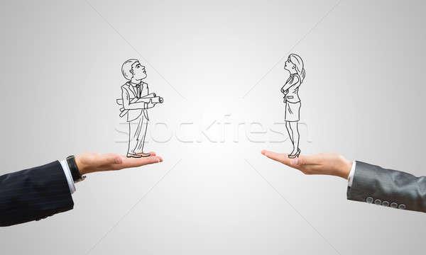Empresario mujer de negocios humanos palmas Foto stock © adam121