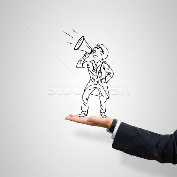 üzletember pálma rajzolt férfi szürke férfi Stock fotó © adam121