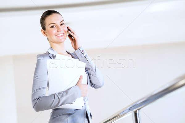 Portre başarılı iş kadını ofis kağıtları Stok fotoğraf © adam121