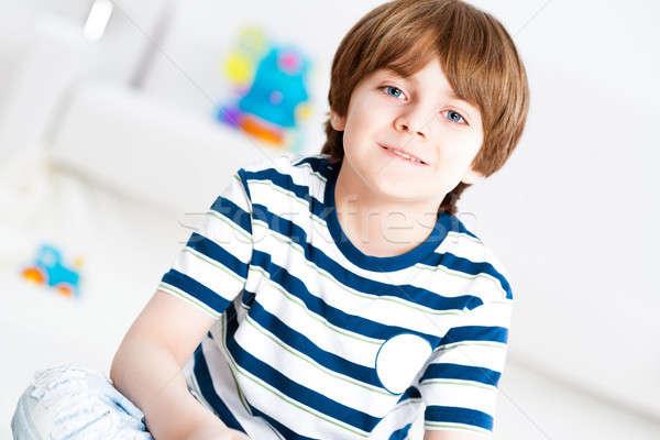 Retrato menino sala de estar sessão piso feliz Foto stock © adam121