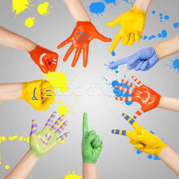ストックフォト: 描いた · 手 · 異なる · 色 · 学校 · 子
