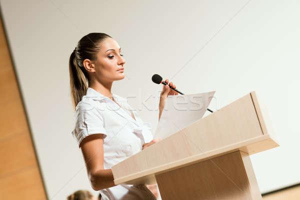 Portre iş kadını mikrofon önde Stok fotoğraf © adam121