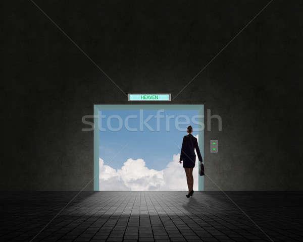 деловой женщины Постоянный открытых дверей двери небе облака Сток-фото © adam121
