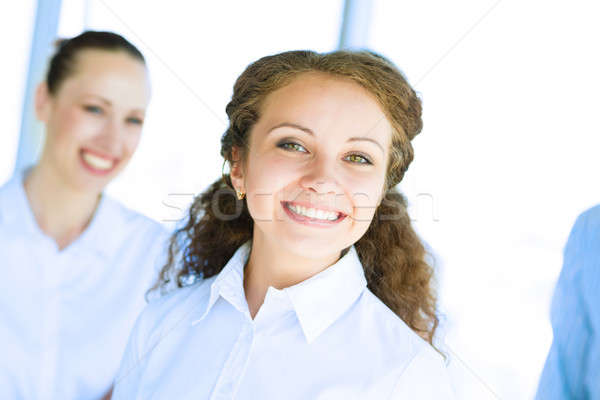 Gelukkig zakenvrouw permanente buiten flipchart business Stockfoto © adam121