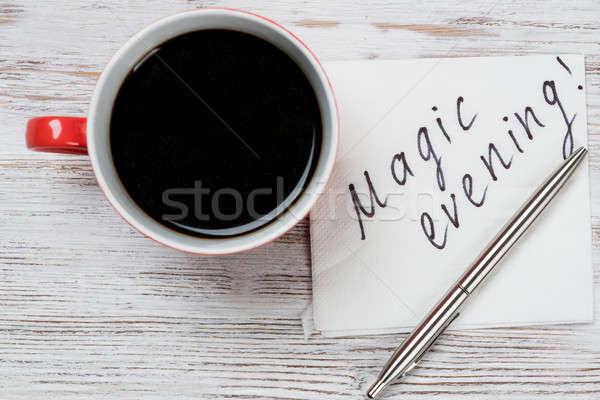 üzenet írott szalvéta csésze kávé toll Stock fotó © adam121