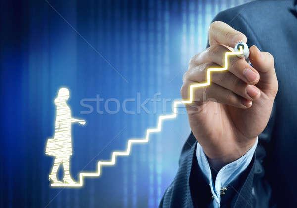 Omhoog succes ladder sluiten zakenman Stockfoto © adam121