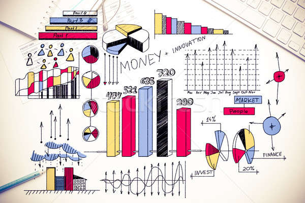 Plano rentável negócio cor estratégia de negócios esboço Foto stock © adam121