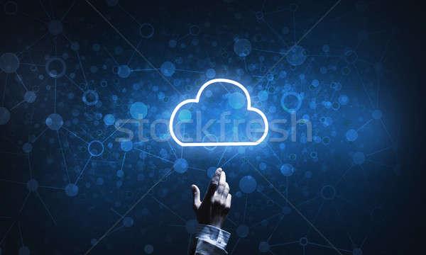 Technologii pomysł chmura icon dotknąć palec Zdjęcia stock © adam121