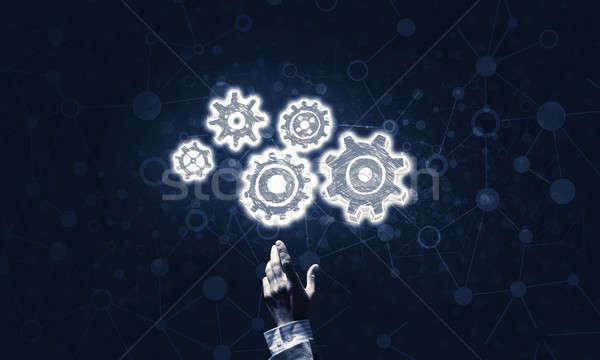 Mechanisme icon donkere symbool Stockfoto © adam121