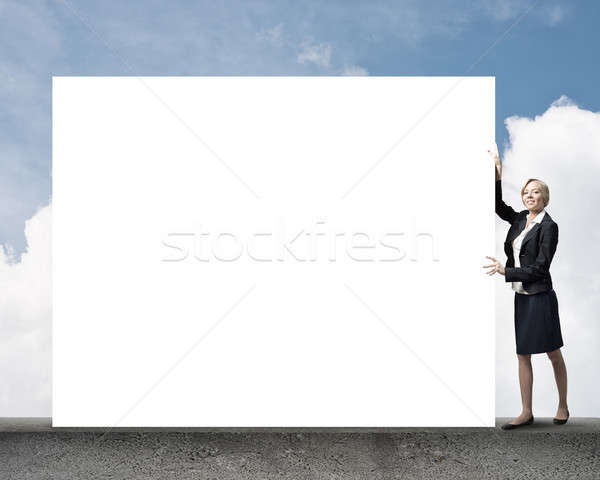 Woman with banner Stock photo © adam121
