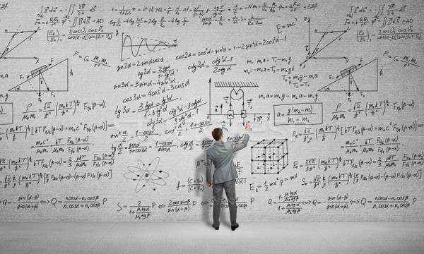 Homem desenhar ciência fórmulas estudante Foto stock © adam121