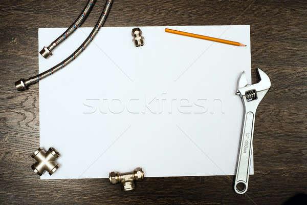 Sanitair tools witte vel papier plaats Stockfoto © adam121