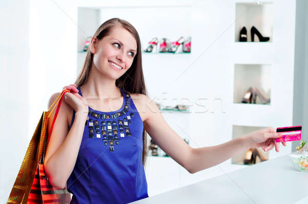 woman at shopping checkout paying credit card Stock photo © adam121
